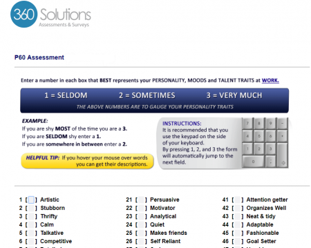 screenshot of the P60 free employee assessment