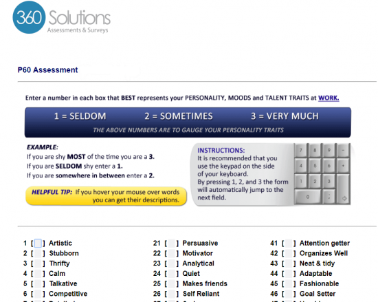 screenshot of the P60 free employee assessment which helps businesses in hiring the right person