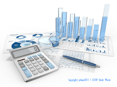 image of financial charts, calculator used by outsourced cfo for business finanace