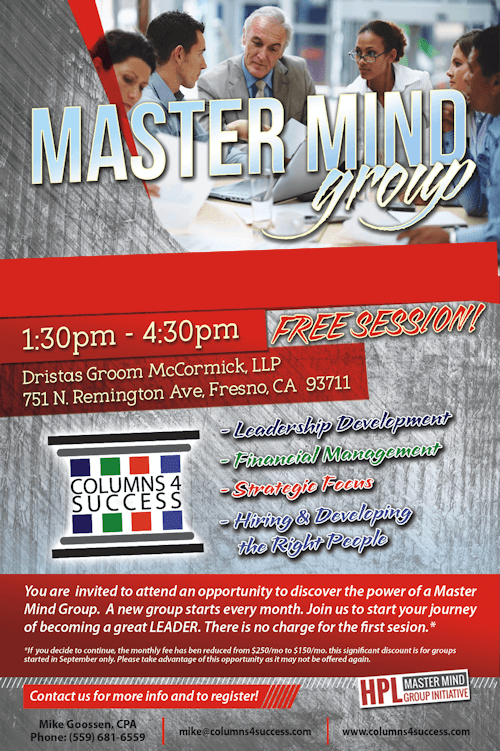 mastermind group information flyer of an event for leadership development and executive networking